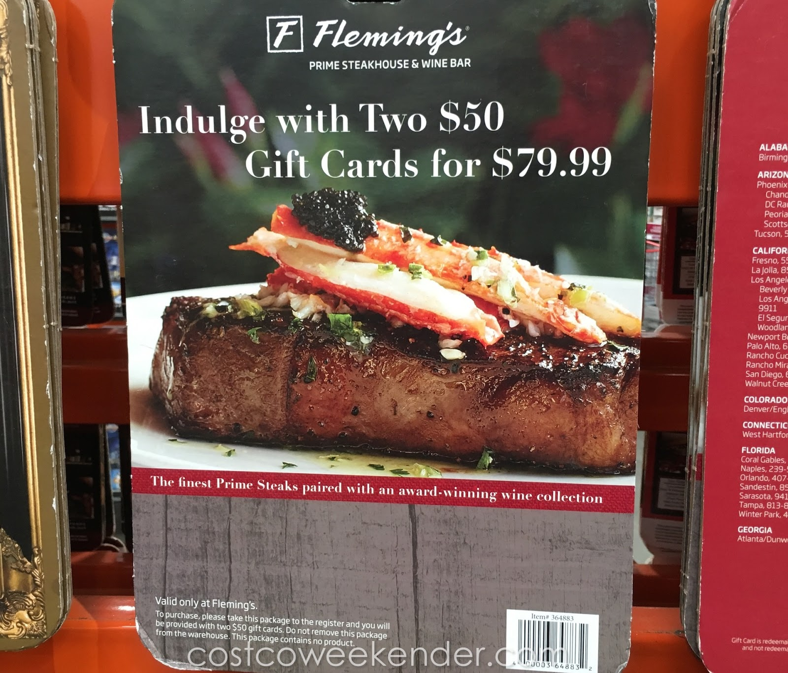 Flemings Steakhouse Wine Bar Two 50 Gift Cards For 79 Costco