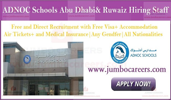 UAE School jobs with accommodation, Government school jobs in UAE,