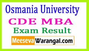 Osmania University (CDE) MBA August 2016 Exam Results