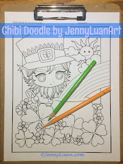 Chibi Leprechaun boy coloring page