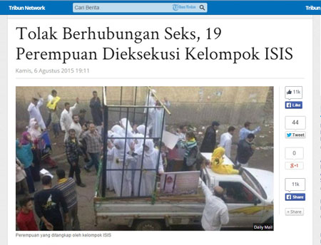Foto Hoax Tolak Berhubungan Seks 19 Perempuan Dieksekusi ISIS