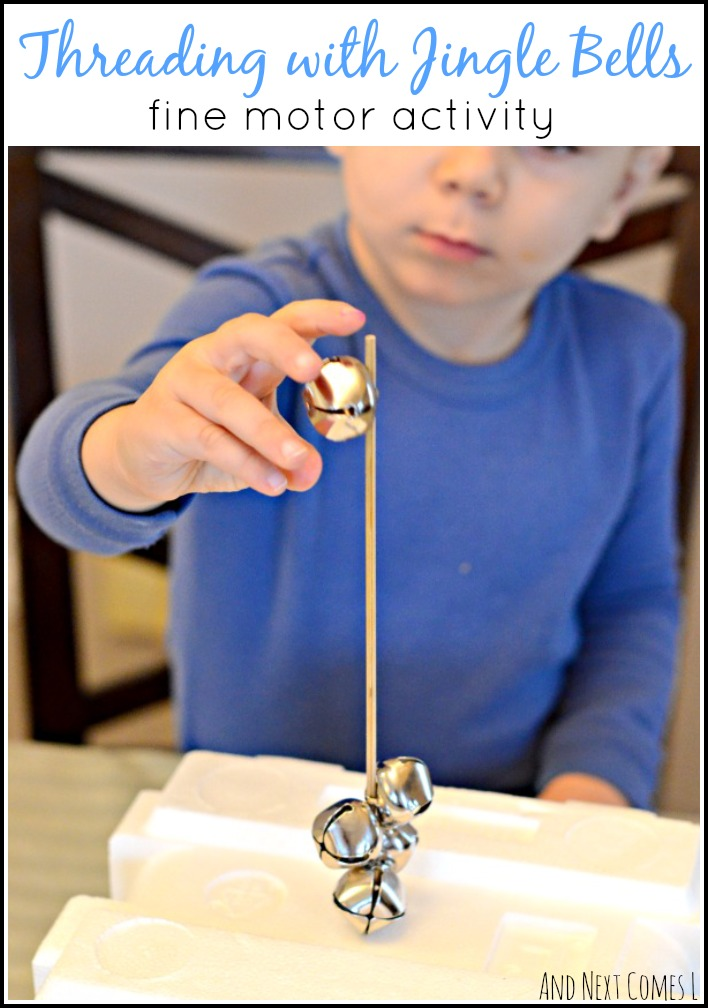 Simple, no prep fine motor threading activity for toddlers and preschoolers using jingle bells from And Next Comes L