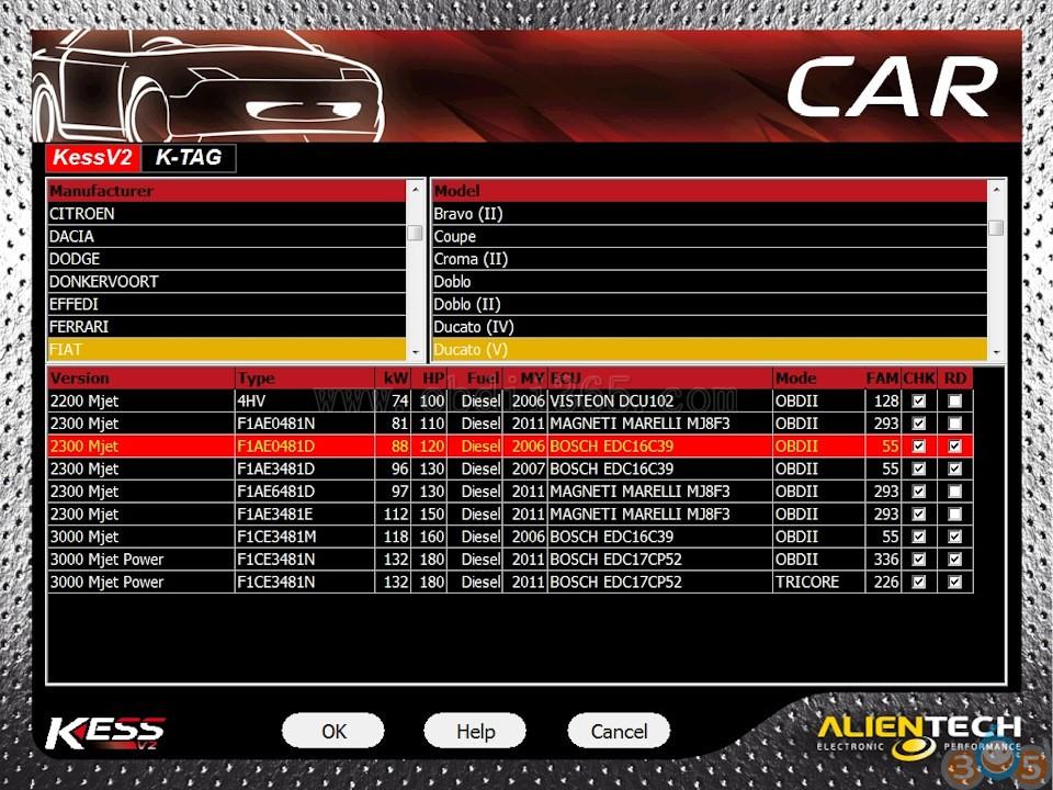Kess V2 & Ktag Ksuite ECU Tuning Tools: Fiat Ducato III Delete DPF