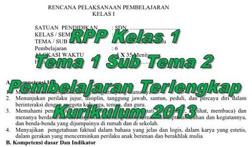 RPP Kelas 1 Tema 1 Sub Tema 2 Pembelajaran Terlengkap Kurikulum 2013