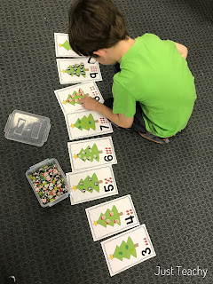 Christmas Tree Counting Cards: Number Recognition, Counting, One-to-One Correspondence, www.JustTeachy.com