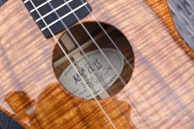 Kala Elite Koa Tenor Ukulele sound hole