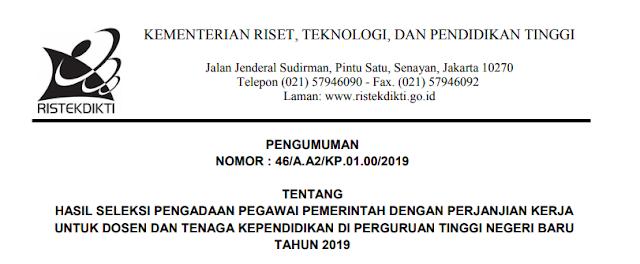 Kemenristekdikti: download hasil seleksi pengadaaan pppk (p3k) tahun 2019 (dosen & tenaga kependidikan), tomatalikuang.com