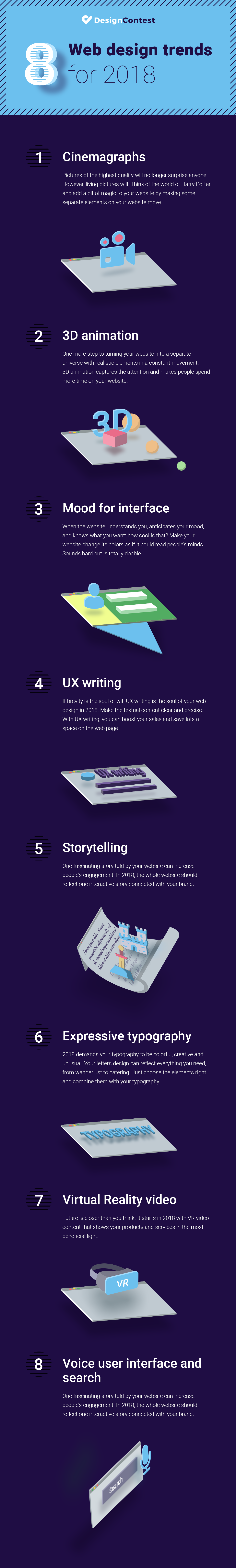 8 Web Design Trends For 2018 - #Infographic