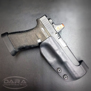 Race Holster for Glock 17 with Trijicon RMR, custom race holster, competition holster, idpa holster, uspsa holster, race shooting