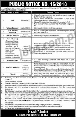 PAEC Jobs Data Entry Operators, Tech-I And II, Nurses, Telecom Operator I/II and Other Posts January 2019