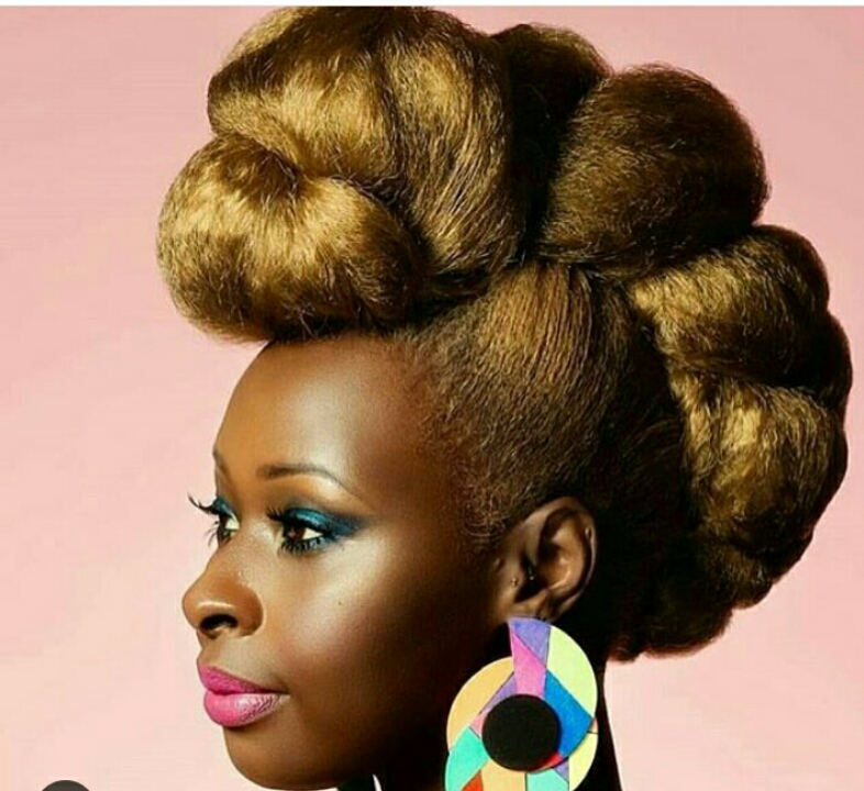 Black woman with Natural Hair Updo Style