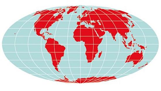 Mapa-múndi de acordo com a 'Projeção de Mollweide'