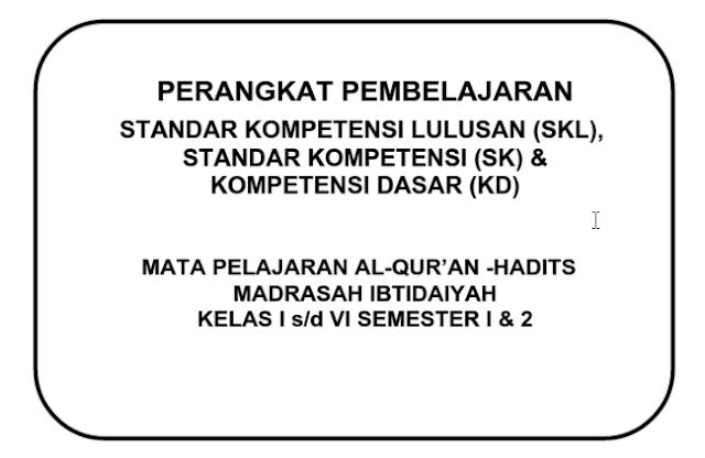 Prota Promes Silabus RPP KKM Qur'an Hadits MI Kelas 4
