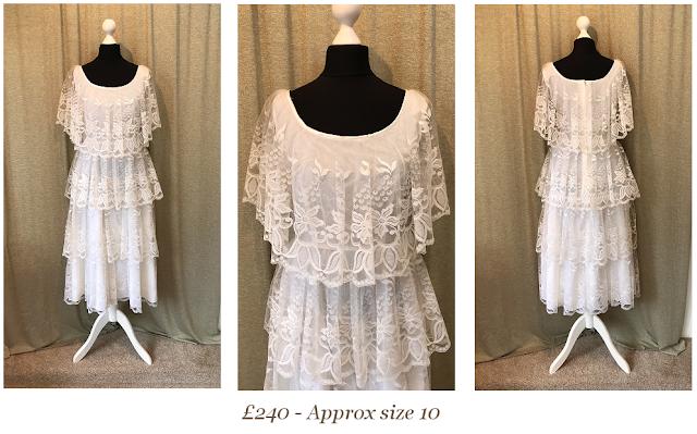 boho lace wedding dress, tea length lace vintage wedding dress, available from vintage lane bridal boutique bolton manchester