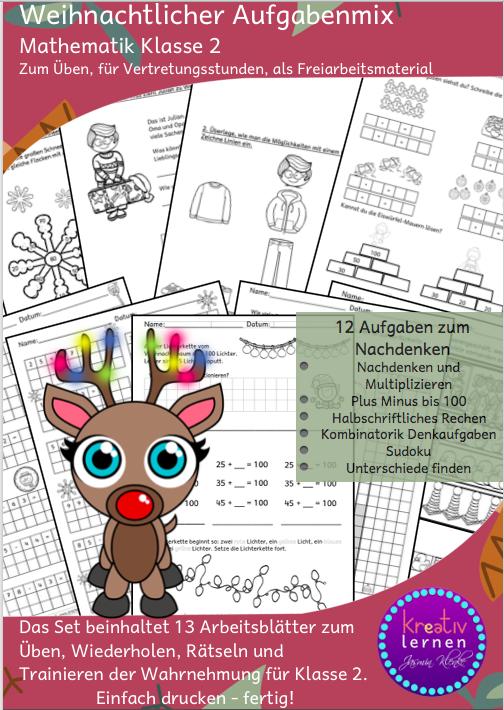 Drachenstübchen: Weihnachtliche Rechenaufgaben für Klasse 2