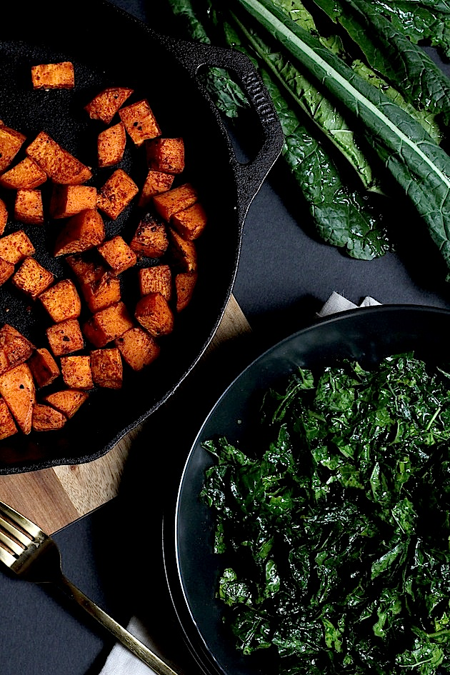 Massaged Kale & Roasted Sweet Potato Quinoa Salad via Savor Home