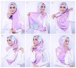 Tutorial hijab segi empat simple model yang cantik