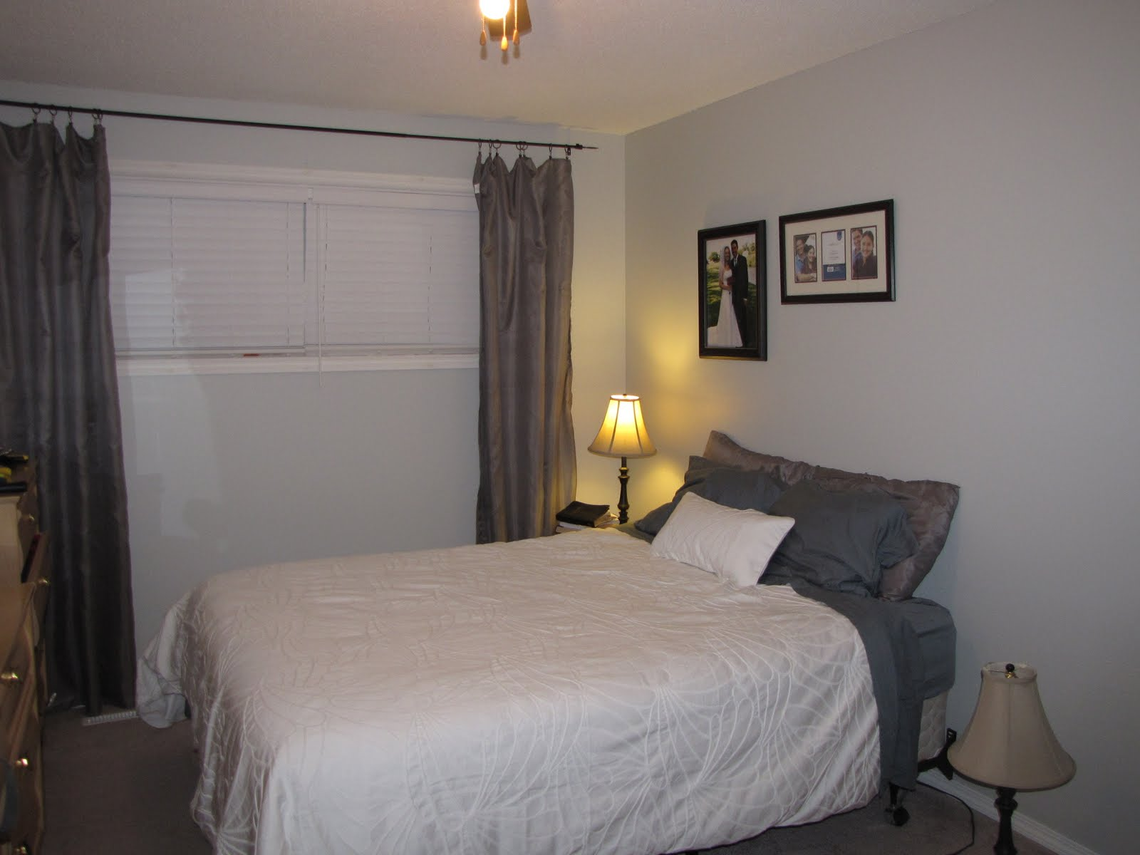 Homemaking Pilgrim: Bedroom Makeover Progress - Curtains - Gray Curtains In Bedroom