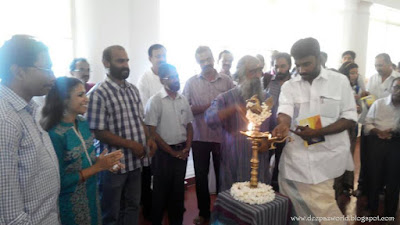 Kerala Lalithakala Akademi Secretary, Vaikom M K Shibu, lighting the lamp HnS