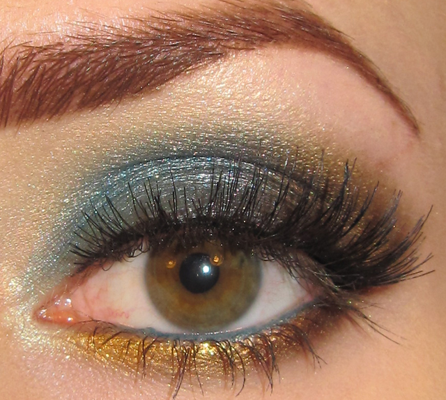 Glitter Is My Crack Teal Brown And Gold Eye Makeup