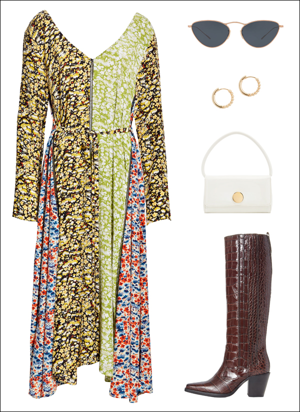 A Scandinavian-Inspired Way to Wear a Print Dress for Fall — Mixed Print Dress, White Bag, Croc Boots