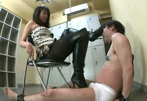 Boots Yakata, KKK, Japanese mistress puts her boots on her slave