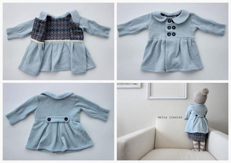 cómo hacer un abrigo de bebé con un jersey reciclado