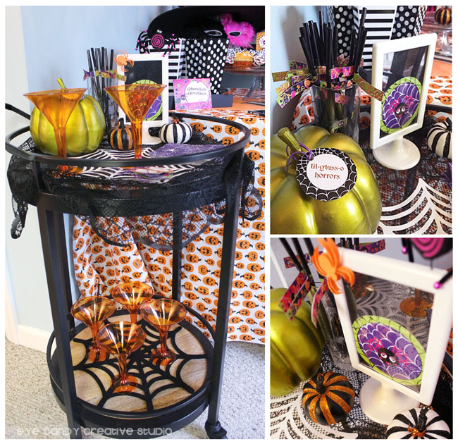 bar cart, mocktail, halloween party decor, spider web, martini glass