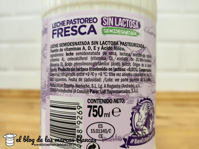 Ingredientes de la leche fresca de pastoreo semidesnatada sin lactosa Milbona de Lidl.