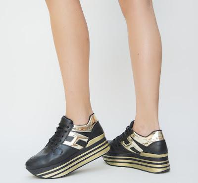 adidasi de fete negri cu auriu cu platforma inalta