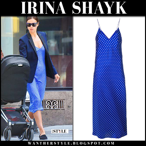 Irina Shayk in blue polka dot midi slip dress model casual style june 8