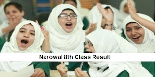 Narowal 8th Class Result 2018 PEC - BISE Narowal Board Results Announced Today