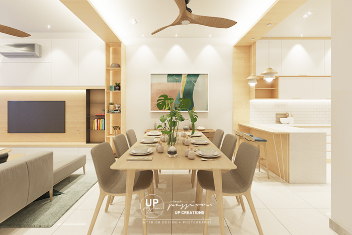 Bandar rimbayu penduline dining area design in scandinavian style with wood texture with special design from the wall to ceiling