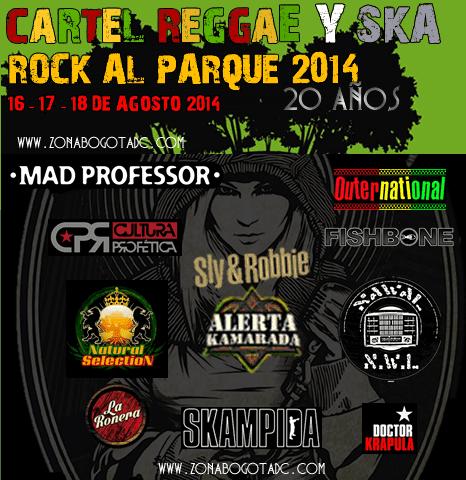 Cartel de Reggae y ska Rock al parque 2014