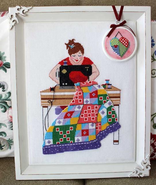 etamin işi patchwork yapan kadın