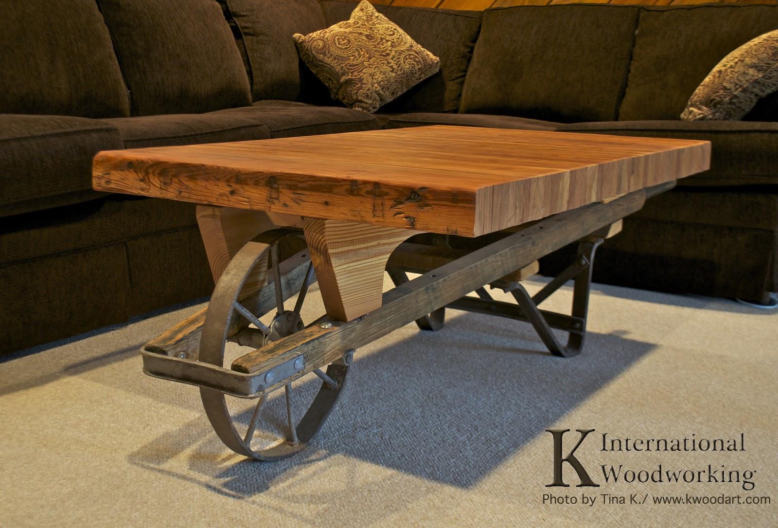 Wheelbarrow Coffee Table K International Woodworking