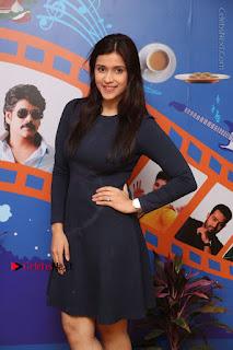 Actress Mannara Chopra Stills in Blue Short Dress at Rogue Song Launch at Radio City 91.1 FM  0045.jpg
