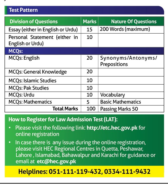 LAT Test for LLB 5 years Admission 2020