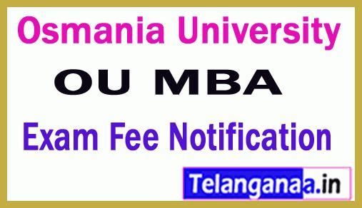 Osmania University MBA  Fee Notification