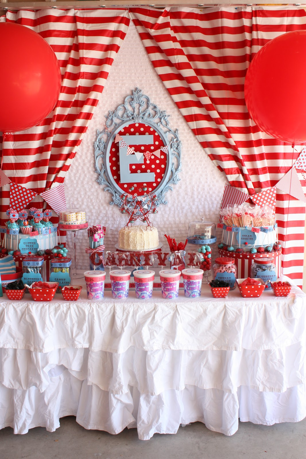 Diy Backdrop Stand For Dessert Table Buckets Of Grace Carnival Party Part Iii Carnival Sweets