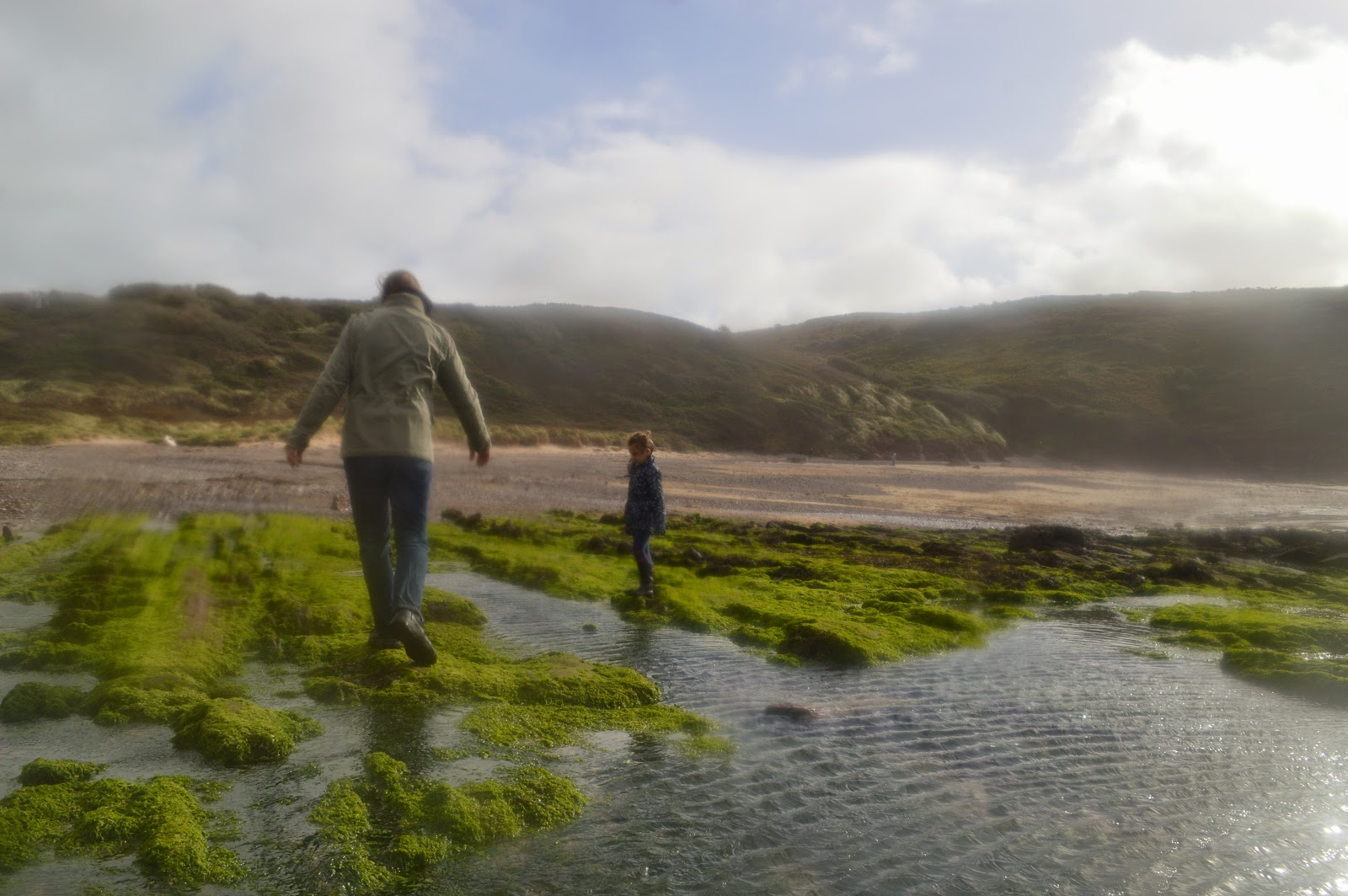 Father and Daughter on Manorbier Beach Pembrokeshire