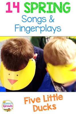 14 preschool songs and fingerplays for spring that are perfect for speech and language therapy. These yellow duck visors are fun for acting out the story.  #speechsprouts #speechtherapy #preschool  www.speechsproutstherapy.com