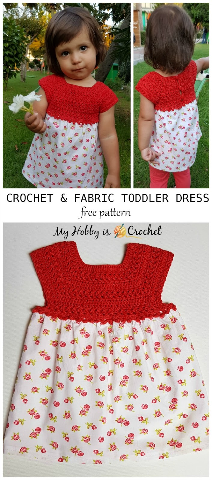 Crochet and Fabric Toddler Dress Elisa Free Pattern
