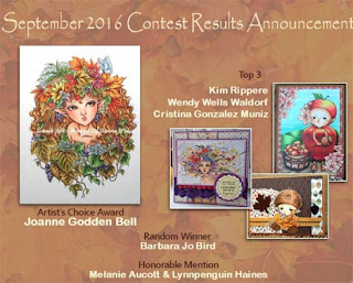 Winners for the Sept Facebook challenge at Aurora Stamps