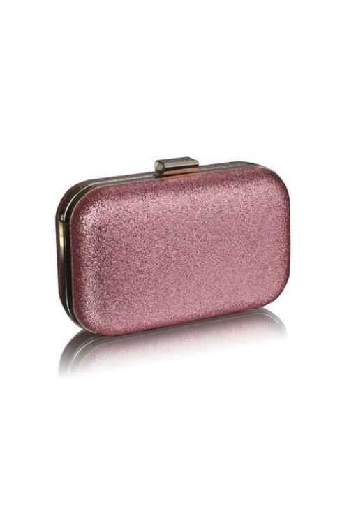 Clutch foarte elegant de culoare roz pal si glitter pentru ocazii