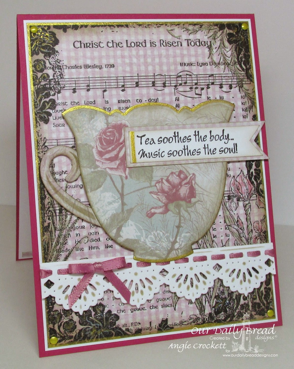 ODBD Shabby Rose Paper Collection, ODBD Custom Beautiful Border Dies, ODBD Christ the Lord Background, ODBD Just A Note, Card Designer Angie Crockett