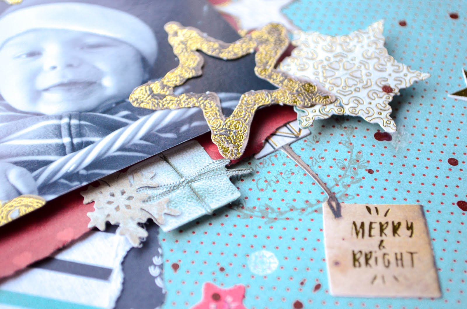 Blue Christmas layout featuring Studio Light products for Cherish the Memory design team - cute die cuts in gold, red, and white