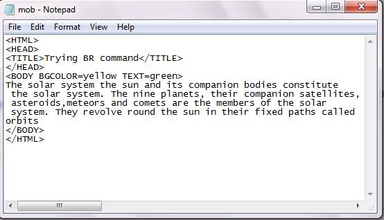<br> html