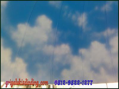 Mural lukis plafon dome kubah motif awan