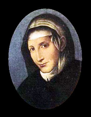 santa Catalina vestida sobriamente de negro sonriendo